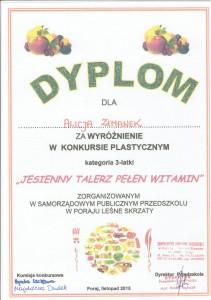 Alicja Zemanek dyplom