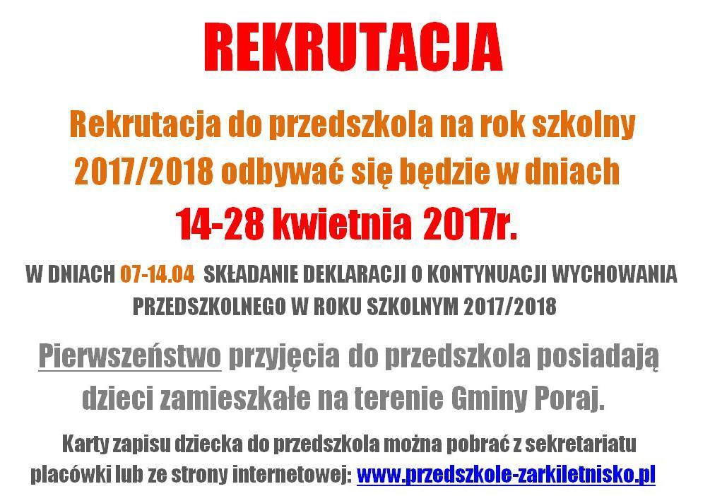 Rekrutacja do przedszkola na rok szkolny 2017/2018