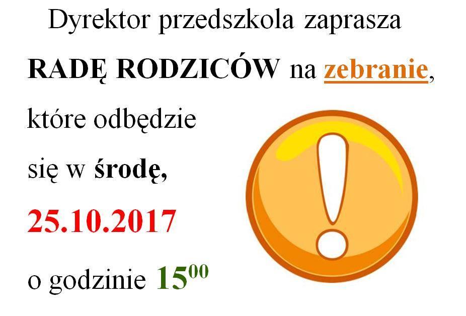 Informacja ozebraniu zRadą Rodziców przedszkola wdniu 25.10.2017r.