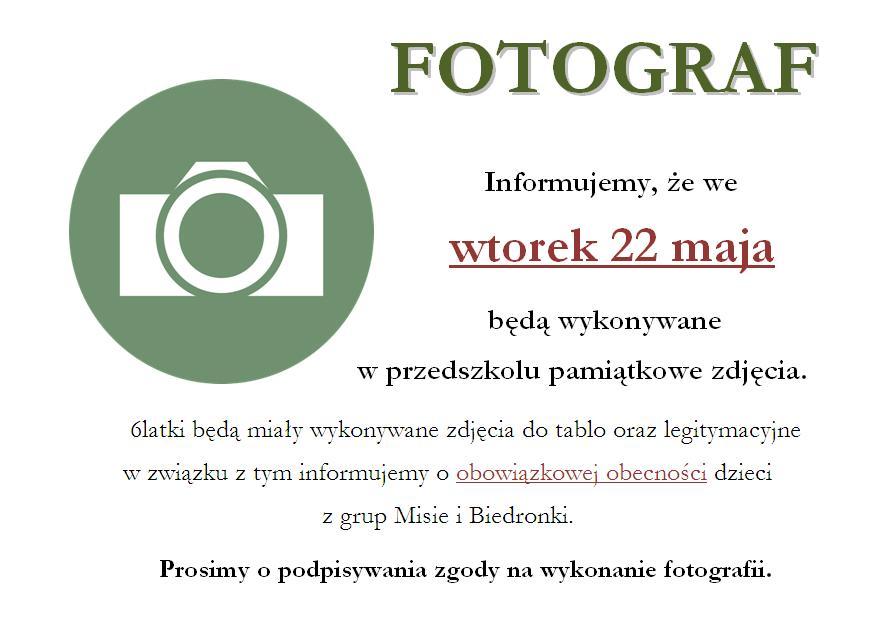 Informacja dot. wykonywania pamiątkowych fotografii wprzedszkolu