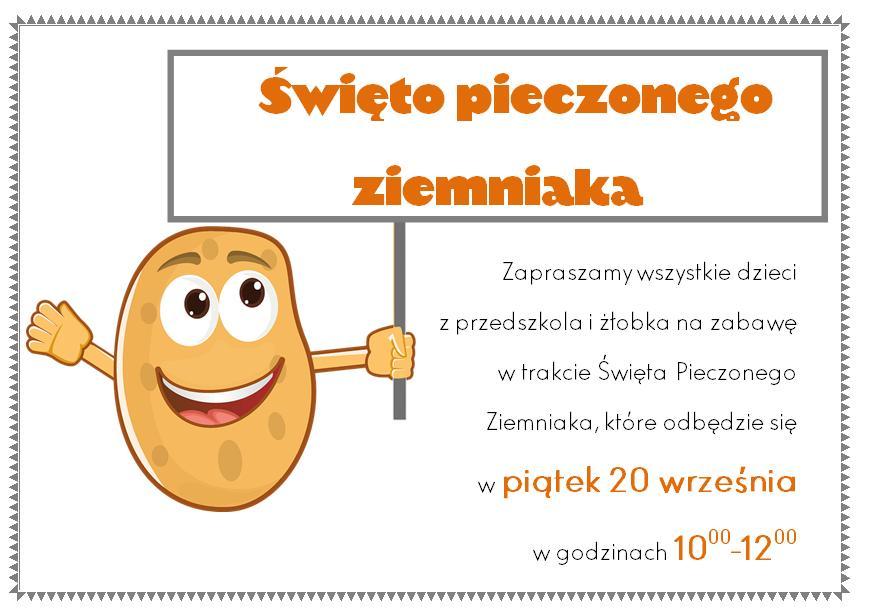 Informacja dot. święta pieczonego ziemniaka wprzedszkolu iżłobku